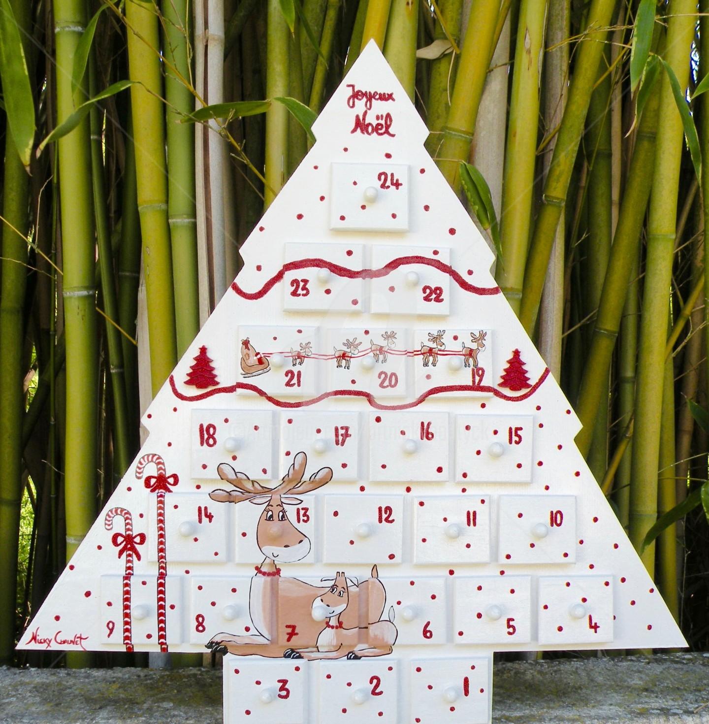 Art-Nicky - Calendrier de l'Avent SAPIN en bois blanc et rouge