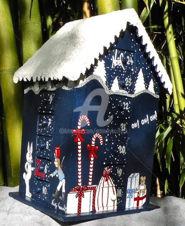 Christmas-Noël- Calendrier de l'Avent, bois peint