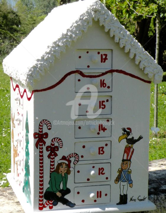 Calendrier de l'Avent, bois, peint, toit enneigé