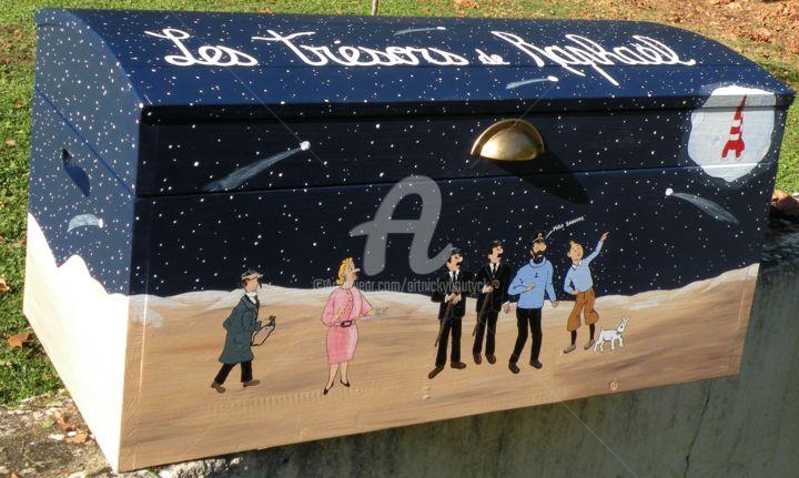 Tintin et Milou sur la lune avec leurs amis